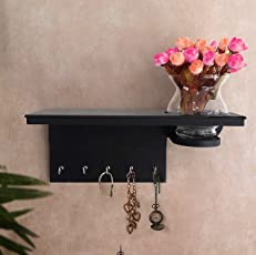 Tied Ribbons Wood Key Holder with Hanger (12.7 cm x 12.7 cm x 31.75 cm, Black)