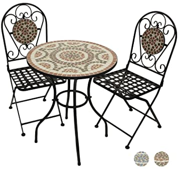 Woodside Terracotta Mosaic Garden Table And Folding Chair Set