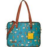 Funk For Hire Women Printed Vegan 15.6 inch Leather Laptop Handbag/Sling Bag Teal Blue