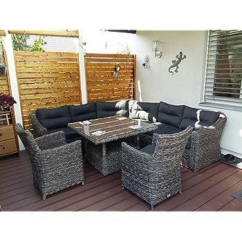 Elegant Poly Rattan Speiselounge Husum Für 6 Personen Gartenmöbel Set Lounge Eckbank  Essgruppe Essecke Gartensitzgruppe Terrassensitzgruppe Esstisch