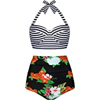 Angerella Femme Vintage Polka Dot Taille Haute Bikinis Dos Nu Maillots de Bain 2 Pièces