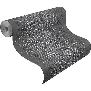 Rasch Vlies Tapete, Linien, Striche, Grau, Weiß, Silber, 413816