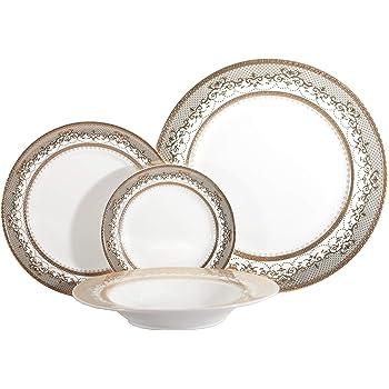 7633f95c4d34 24 Piece Quality Bone China Dinnerware Set Inspired Styles, Better Living  (Beautiful Gold)