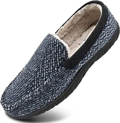 KuaiLu Pantofole a Mocassino Invernali da Uomo Calde Fodera in Lana Scarpe con e Suola Spessa Antiscivolo 40-48