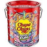 Chupa Chups Best of lolly's emmer, 150 lolly's in opbergblik, Pop-Art metalen blik met 6 smaken, snoep om te delen, cadeau te