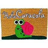 Koko DOORMATS felpudos Entrada casa Originales, Fibra de Coco y PVC, Felpudo Exterior Hola CARACOLA, 40x60x1.5 cm   Alfombra