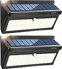 Solarleuchte für Außen,100LED Superhelle Solarlampen für Außen mit Weitwinkel und Kabellos Wasserfest Solar Außenleuchte mit Bewegungsmelder (2 Pack)-LUSCREAL