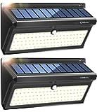 Lampe Solaire Exterieur,100 LED Extra Lumineuses Lumiere Solaire Exterieur Detecteur de Mouvement 2400mAh avec Grand Angle et Etanche Sans Fil Applique Solaire(2 PACK)-LUSCREAL