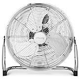Ventilateur de sol H.Koenig JOE30 Silencieux, Design métal chromé, 40 cm, Haute vitesse, Résistant, 3 vitesses de ventilation