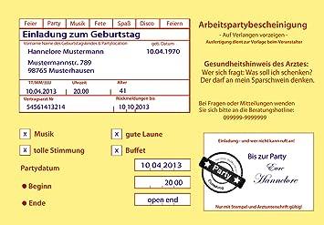 Einladungskarten Zum Geburtstag Motiv: Krankenschein (inkl. Druck Ihrer  Daten U0026Texte) Krankmeldung 18