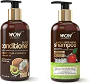 WOW Coconut & Avocado Oil No Parabens & Sulphate Hair Conditioner, 300mL and WOW Apple Cider Vinegar No Parabens & Sulphate S