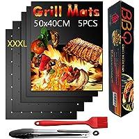Nifogo Tapis de Barbecue Cuisson Mat 50x40cm & Pince & Brosse, Antiadhésif Réutilisable Nettoyage Facile pour BBQ/Fours…