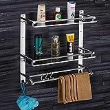 Plantex Elegant-Plus High Grade Stainless Steel Multipurpose 3 Tier Bathroom Shelf with Towel Holder/Towel Hooks…