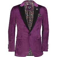 Mens Velvet Dinner Jacket Smooth Soft Tuxedo Coat Retro Tailored Fit Suit Blazer