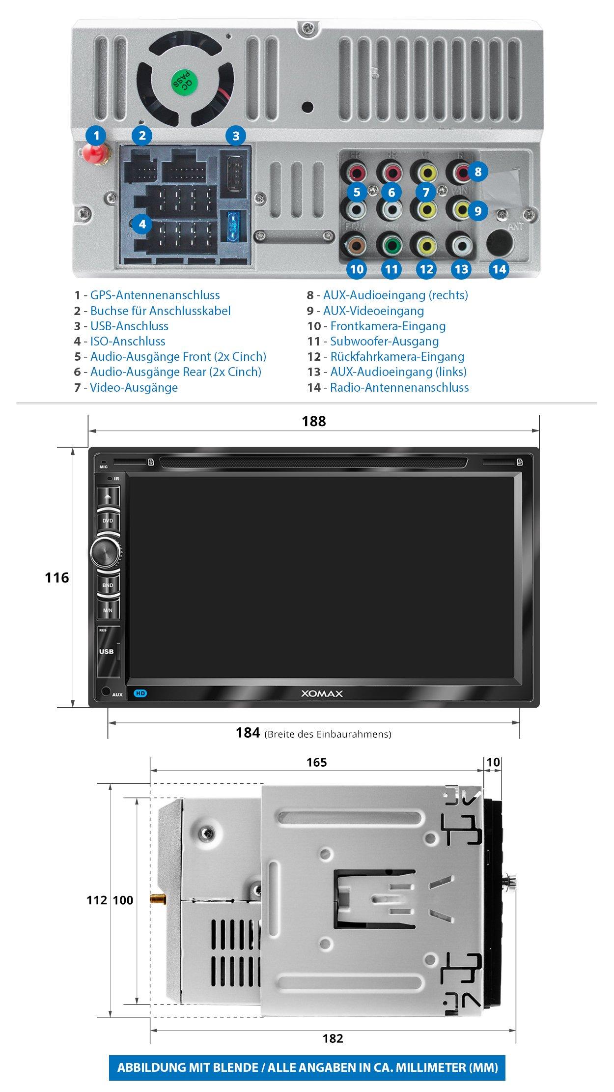 XOMAX-XM-2DN6906-Autoradio-mit-Mirrorlink-I-GPS-Navigation-I-Navi-Software-inkl-Europa-Karten-I-Bluetooth-Freisprecheinrichtung-I-18cm-Touchscreen-Bildschirm-I-DVD-CD-Player-I-SD-I-USB-I-Aux-I-2-DIN