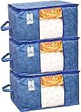 Kuber Industries Leheriya Design Underbed Storage Bag, Storage Organiser, Blanket Cover Set of 3 - Royal Blue, Extra…