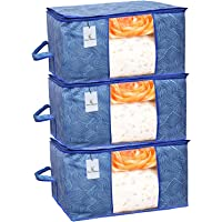 Kuber Industries Leheriya Design Underbed Storage Bag, Storage Organiser, Blanket Cover Set of 3 - Royal Blue, Extra Large Size - CTKTC0015228