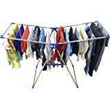 TNC;WORLD OF MODERN UTILITY PRODUCTS Pure Stainless Steel Foldable Butterfly Floor Cloth Dryer Stand (Blue)