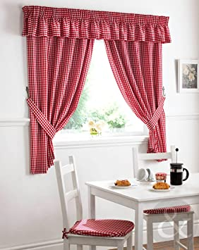 Red Curtains amazon red curtains : Just Contempo Gingham Pencil Pleat Kitchen Curtains, Red, 46x48 ...