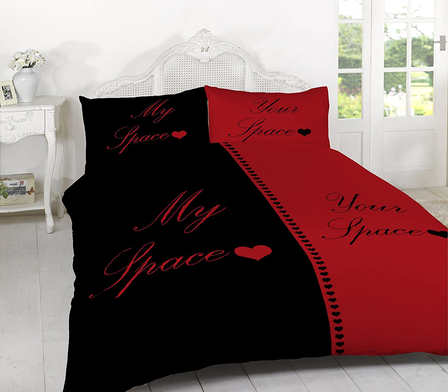 Black and red bedding - My Space Your Space Duvet Set Quilt Cover With Pillow Cases Bedding Sets Black White King Amazon Co Uk Kitchen Home