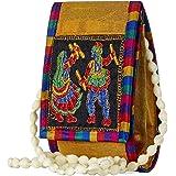 GiftingTree Fabric Rajasthani Jaipuri Embroidered Women's Sling Bag/Mobile Bag (Red)