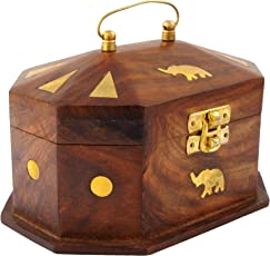 Itos365 Handmade Wooden Jewellery Box For Women Jewel Organizer Elephant Decor, 6 Inches