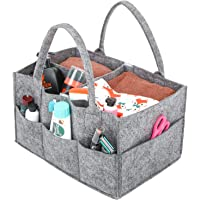 UMI. by Amazon Baby Diaper Caddy Nursery Storage Bin Felt Basket Diapers Organizer Baby Wipes Bag with Changeable Compartments, Portable Multipurpose Basket for Car Travel, Nappy Bags for Mom, Grey