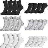 Rovtop 12 Pares de Calcetines para Hombre y Mujer - 6 Pares Calcetines Deportivos Medias Bajas y 6 Pares de Calcetines de Tub