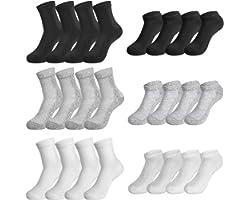 Rovtop Chaussettes pour Hommes en Coton 12 paires de Chaussettes de Sport pour Hommes, Chaussettes Respirantes en Mesh (Blanc