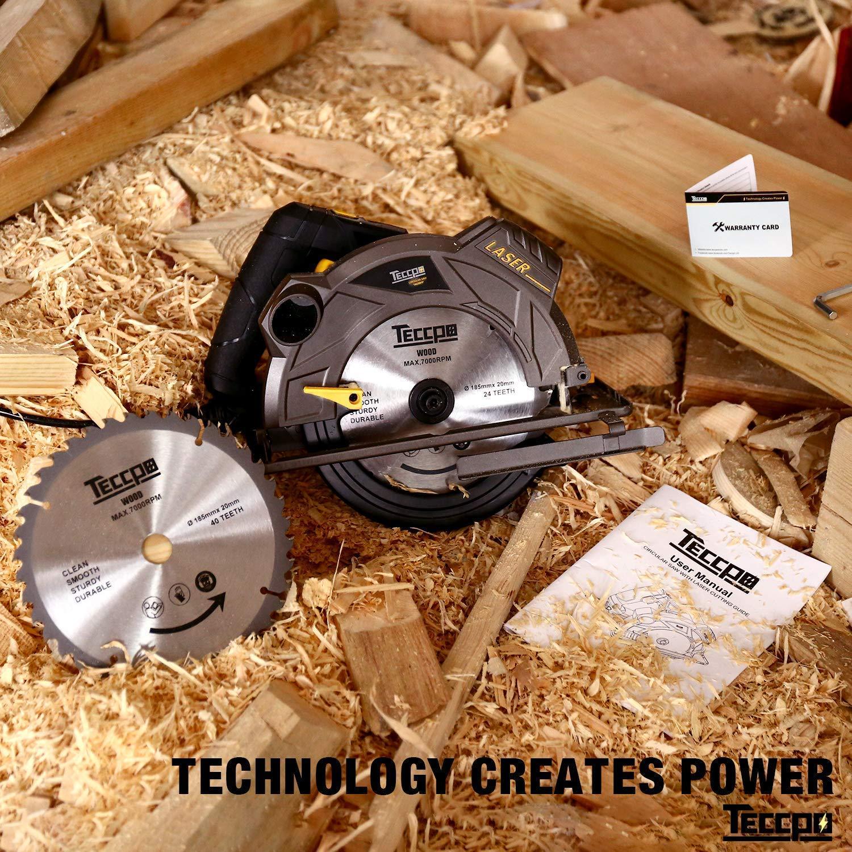 Gu/ía L/áser TACS01P 45mm 45/° Motor de Cobre Puro Sierra Circular Profundidad de Corte 63mm 5800 RPM 90/° TECCPO Professional 1500W Sierras Circulares 2 Hojas /Ø185mm