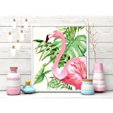 Painting Mantra - Flamboyant Flamingo Framed Canvas Art Print - 11 INCH X 13 INCH