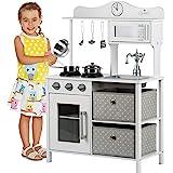 Kinderplay Cucina Giocattolo per Bambini - Grande Cucina per Bambini Legno Vintage Bianca Accessori, Cucina Legno Bambini, Gi
