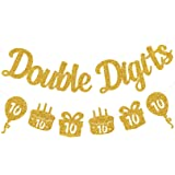 Festiko Double Digits 10th Birthday Banner - Happy 10th Birthday Decorations 10 Year Birthday Decorations for Kids 10th Birth