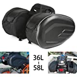 Motorcycle Saddlebags, Motorbike Panniers, Waterproof Travel Luggage Side Bags, Universal Saddle bags/ 36-58L Expandable…