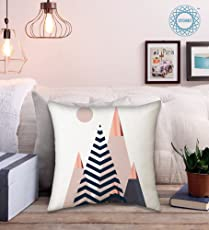 STITCHNEST Exquisite look White,Grey,Baby Pink, Black with Rose Gold Pyraminds Marble Pattern graphic print Satin Cushion Cover for home décor with Geometric pastel prints, bedroom, look perfect for chic themed room - 16 X 16 inches - Set of 1