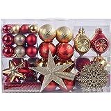 YILEEY Adornos de Navidad Decoracion Arboles de Navidad Bolas de Plastico, Dorado y Rojo, 108 Piezas en 19 Tipos, Caja de Bol