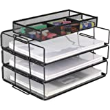 Callas Mesh 3-Tier Office Desktop File Organizer Stackable Desk Organizer Letter Paper Tray with Compartment, Black, CA17335A