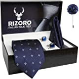 Rizoro Mens Plaid Dotted Silk Necktie Gift Set With Pocket Square Cufflinks & Brooch Pin Formal Tie With Leatherite Box (4D5R