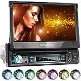 """XOMAX XM-D749 Autoradio avec écran Tactile 18 cm / 7"""" I DVD, CD, USB, AUX I RDS I Bluetooth I Connexions pour caméra de recul, télécommande au Volant et subwoofer I 1 DIN"""