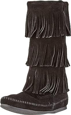 Minnetonka - 3-Layer Fringe Boot, Stivali E Stivaletti, Donna