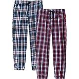 JINSHI Men's Cotton Pyjama Bottoms Button Fly Check Lounge Pants Nightwear