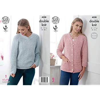 1ec1a9a231dcb King Cole 4528 Knitting Pattern Ladies Sweater Cardigan in Authentic DK by King  Cole