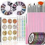 Nail Art Tools modeontwerper, nail design accessoires, 30 banden en 15 sets penselen voor nail art en 5 potloden en 3 3D nage