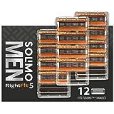 Solimo RightFit5 - Para hombre, 12 cartuchos de repuesto (5 cuchillas)