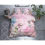 SLEEP TIME Housse De Couette Coton, Housse de Couette d ete, Multicolore, Angela, 220cm x 240cm, avec 2 taie d'oreiller 60cm