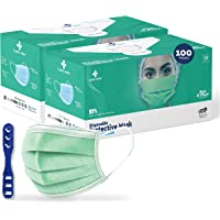 Medohealthy 3 Ply Disposable Face Masks (Pack of 100,Green) with nose pin BIS, (ISI) Certified mask with Melt blown…