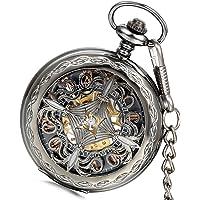Lancardo, orologio da taschino meccanico, color acciaio, con quadrante cavo color oro, decorato con nodi cinesi