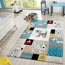 Tu0026T Design Kinder Teppich Moderner Spielteppich Hunde Karos Pastell Töne In Blau  Beige