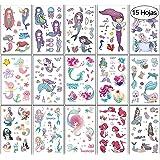 VEGCOO 15 Hojas Tatuajes Temporales Pegatinas Para Niños Niñas Sirena Unicornio Dibujos Animados Falso Pegatinas de Tatuaje p