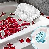 buonson Cuscino Vasca da Bagno 4D con 6 Ventose Antiscivolo - Gratis Spazzola Massaggiante Testa per Un Relax Spa da Sogno -
